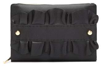 Milly Astor Ruffle Leather Clutch