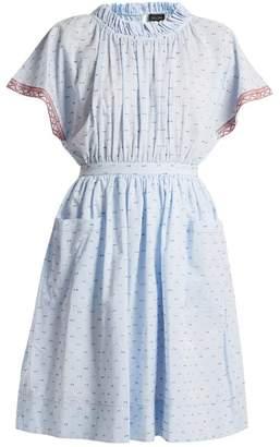Saloni Dakota Seersucker Cotton Blend Dress - Womens - Light Blue