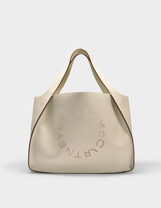 Stella McCartney Alter Nappa Tote Stella Logo Bag in White Eco Leather