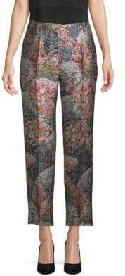 Valentino Textured Floral Cropped Pants
