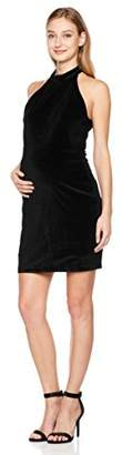 Abie Maternity Pregnancy Velvet Cold Shoulder Bodycon Midi Dress