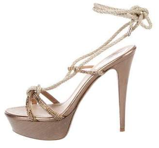 Rene Caovilla Satin Wrap-Around Sandals