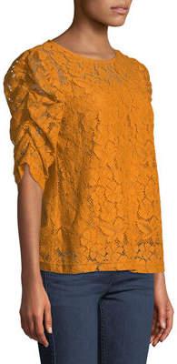 Nanette Lepore Nanette Jewel-Neck Puff-Sleeve Lace Blouse