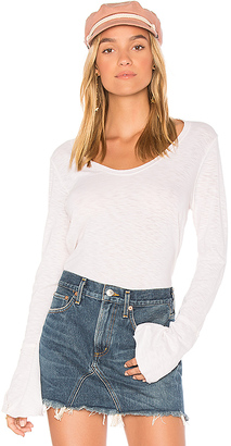 Michael Stars Soft V Neck Bell Sleeve Top in White. $84 thestylecure.com