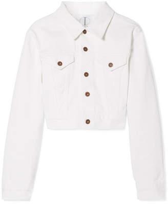 TRE Editor Zip-embellished Cropped Denim Jacket