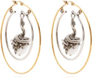 Alexander McQueen Faux-pearl drop hoop earrings