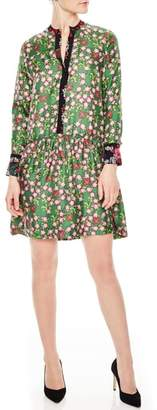 Sandro Split Neck Floral Silk Dress