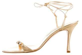 Manolo Blahnik Leather Wrap-Around Sandals