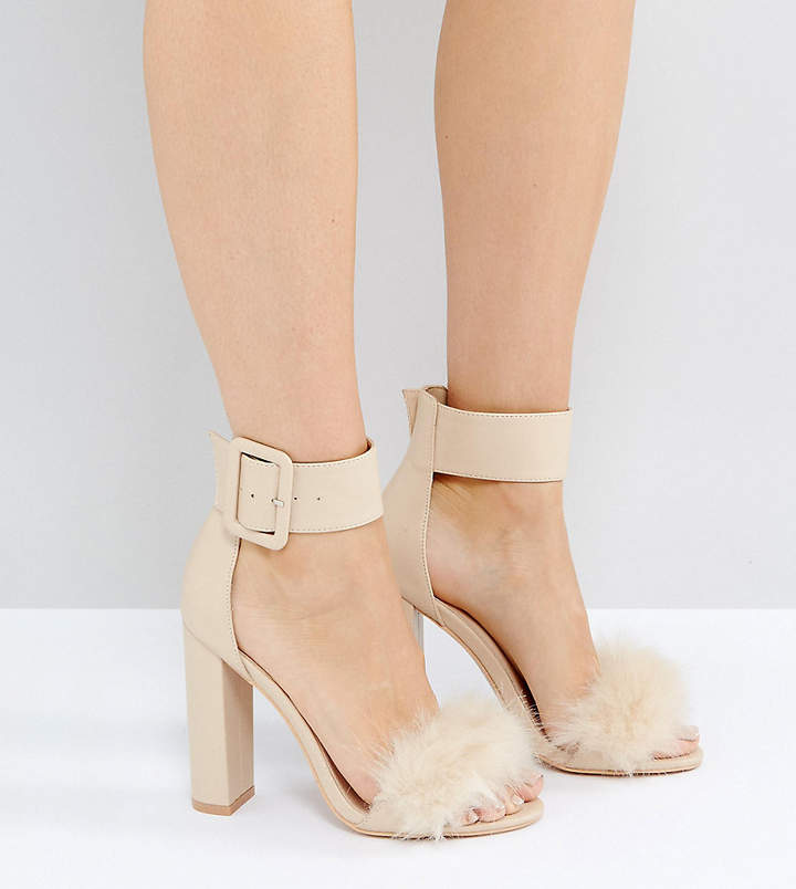Public Desire Power Nude Faux Fur Block Heeled Sandals