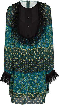 Anna Sui Patchwork Petals Ruffled Dress