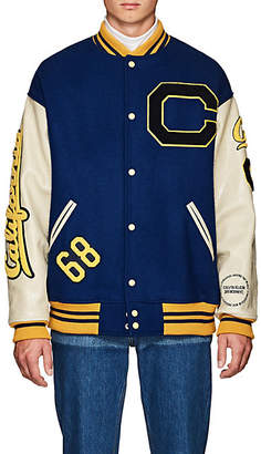 Calvin Klein Men's Oversized Wool Varsity Jacket - Blue
