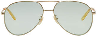 Gucci Gold and Green Double Bridge Aviator Sunglasses