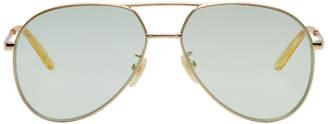 Gucci Gold and Green Double Bridge Aviator Sunglasses