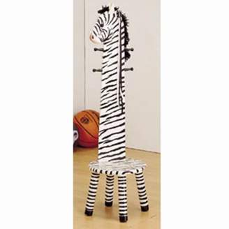 Teamson Kids - Zoo Kingdom Zebra Stool w/Coat Rack - White / Black