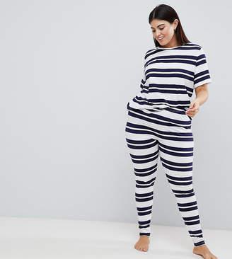 Asos DESIGN Curve Wide Stripe Short Sleeve Tee And Legging Set
