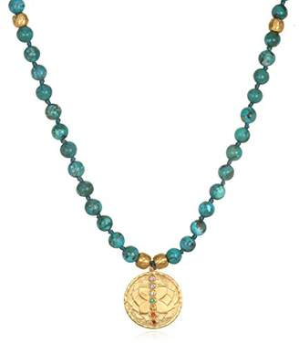 Satya Jewelry Turquoise Gold Chakra Tassel Mala Necklace 30-inch
