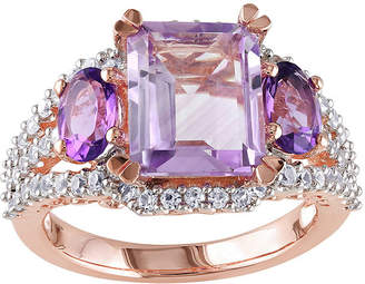 FINE JEWELRY Genuine Rose de France, Amethyst and Lab-Created White Sapphire Ring