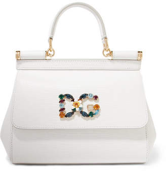 Dolce & Gabbana Sicily Small Embellished Lizard-effect Leather Tote - White