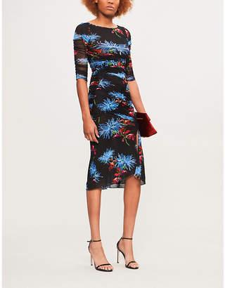 Diane von Furstenberg Floral-print ruched mesh dress