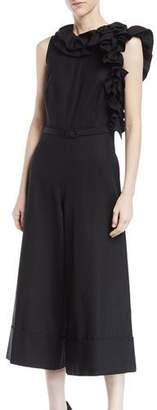 Co Sleeveless Asymmetric Ruffle-Neck Wide-Leg Crop Jumpsuit