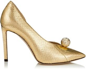 Jimmy Choo SADIRA 100 Gold Metallic Elaphe Pointy Toe Pumps with Diamond Cut Pearl