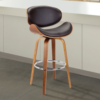 """Armen Living Solvang 30"""" Mid-Century Swivel Bar Height Barstool in Brown Faux Leather with Walnut Wood"""