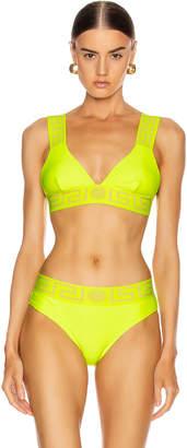 Versace Triangle Bikini Top in Fluorescent Yellow | FWRD