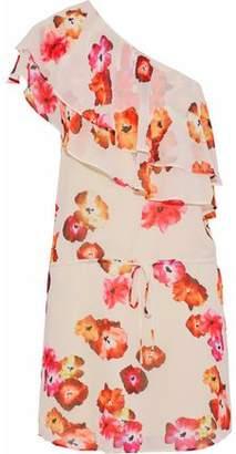 Haute Hippie One-Shoulder Ruffled Floral-Print Crepe De Chine Mini Dress
