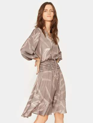 Halston Smocked Long Sleeve Printed Dress