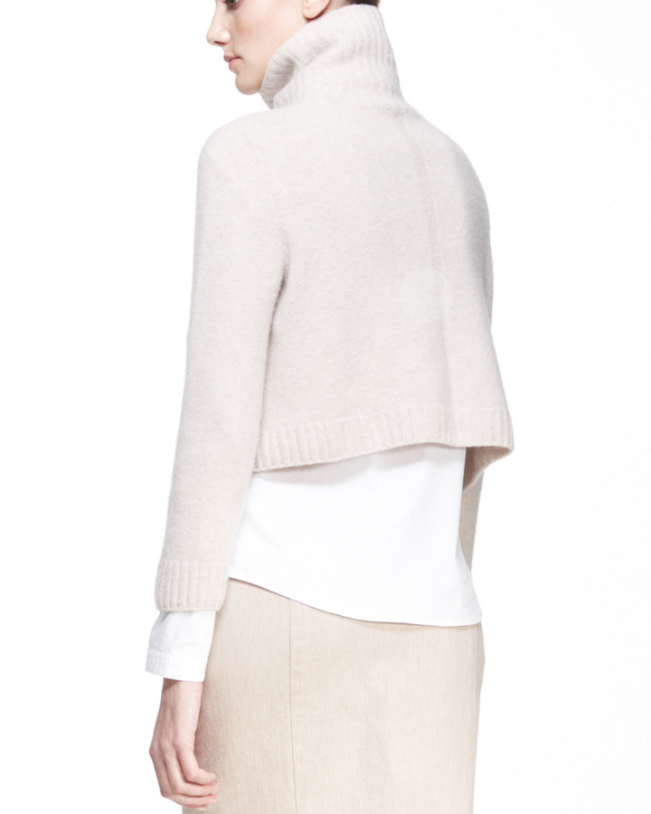 The Row Cropped Merino-Cashmere Turtleneck Sweater
