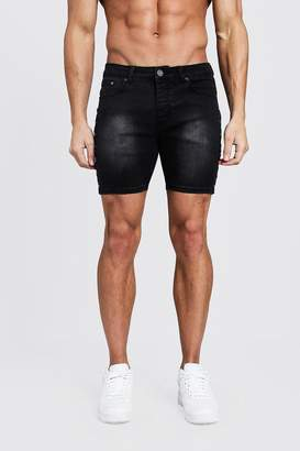 boohoo Skinny Fit Denim Shorts With Studded Seams