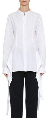 Jil Sander Long-Sleeve Button-Front Oxford Shirt with Wavelike Asymmetric Side Tails
