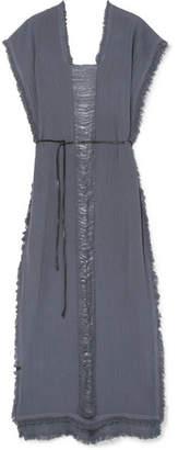 Caravana - Tunku Belted Frayed Cotton-gauze Maxi Dress - Midnight blue
