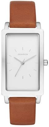 Skagen Women's Hagen Rectangle Leather Strap Watch, 43mm