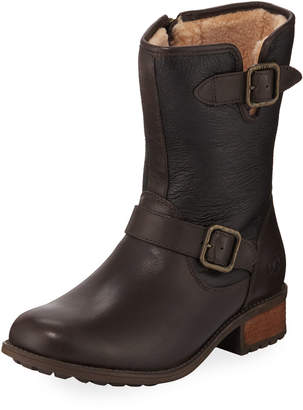 UGG Chaney Shearling Fur-Lined Moto Boots