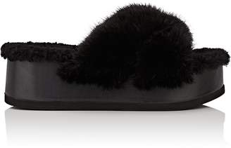 Barneys New York Women's Crisscross-Strap Fur Platform Sandals