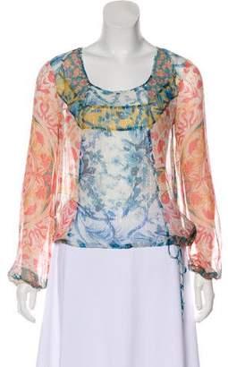 BCBGMAXAZRIA Silk Long Sleeve Top