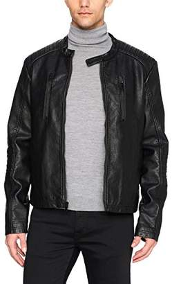 William Rast Men's Faux Leather Textured Moto Bikers Jacket