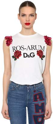 Dolce & Gabbana Sequined Ros-Arum Printed Jersey Top