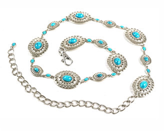 Neiman Marcus Turquoise-Hued Concho Chain Belt $35 thestylecure.com