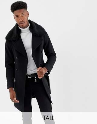 Gianni Feraud Tall premium removable faux fur collar cashmere blend military coat