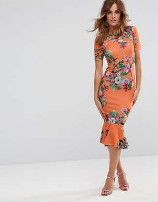 ASOS T-Shirt Orange Floral Midi Dress With Pephem $60 thestylecure.com