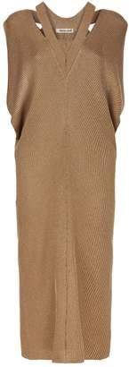 Roberto Cavalli Ribbed Metallic Maxi Dress