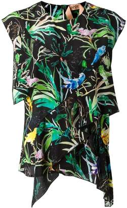 No.21 tropical print blouse