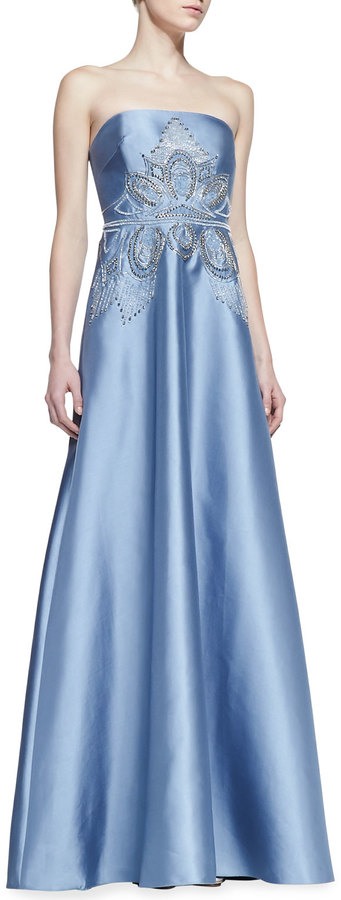 Badgley Mischka Strapless Deco-Bodice Ball Gown, Light Blue