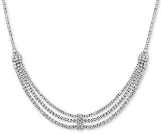"Tiara Cubic Zirconia Triple Row 18"" Statement Necklace in Sterling Silver"