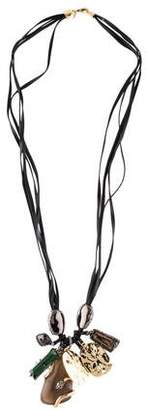 Alexis Bittar Long Crystal Charm Multistrand Necklace