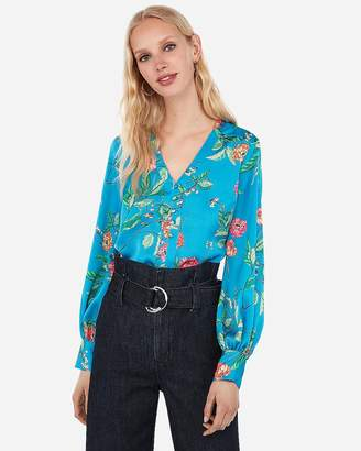 Express Satin Floral Button Front Blouson Sleeve Chelsea Popover