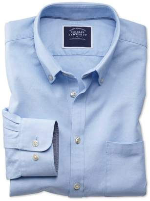 Charles Tyrwhitt Extra Slim Fit Sky Blue Washed Oxford Cotton Casual Shirt Single Cuff Size Large