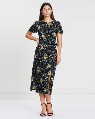 Oasis Frieda Ditsy Split Hem Dress